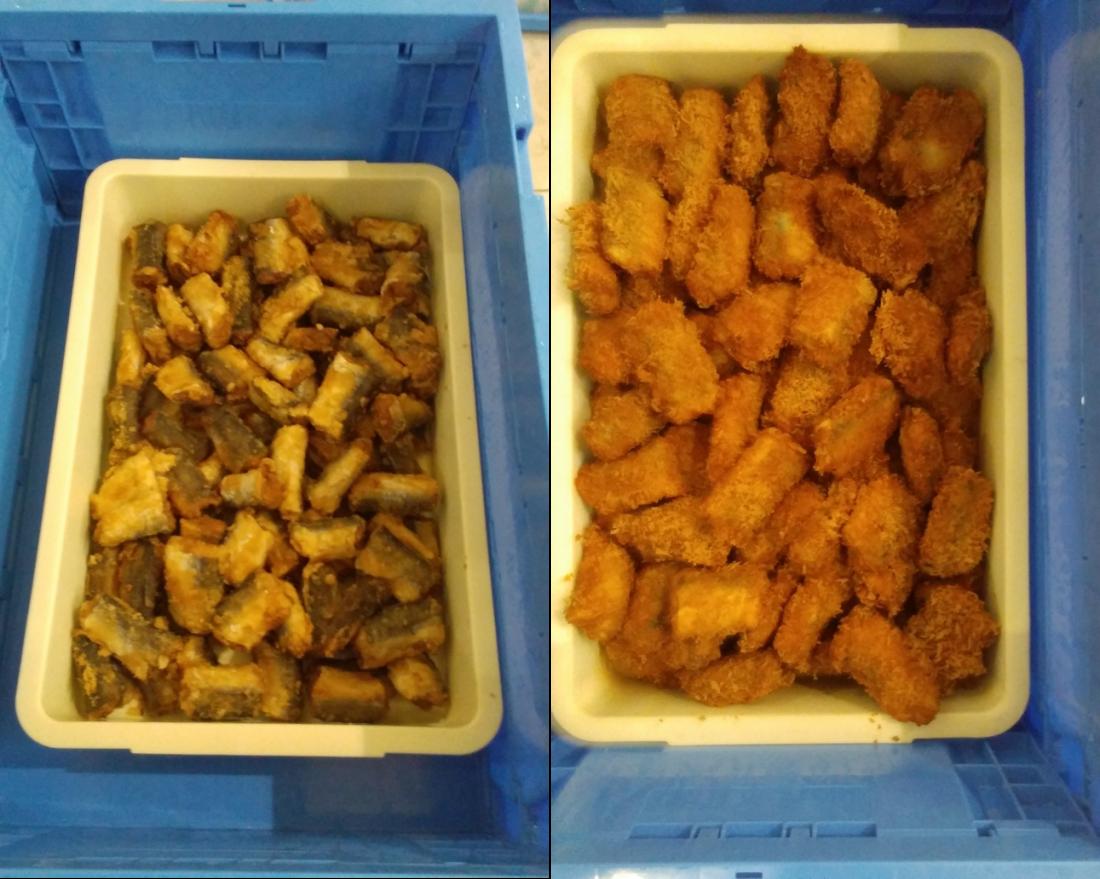 学校給食展試食提供(左:かます棒の唐揚げ 右:かます棒のフライ)